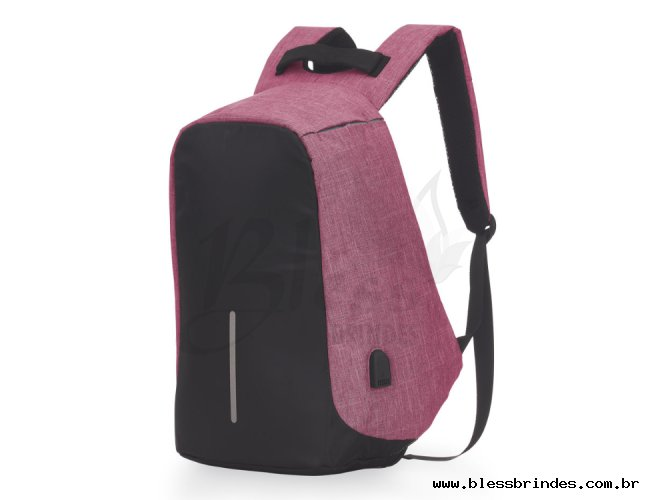 Mochila Anti-Furto USB Rosa